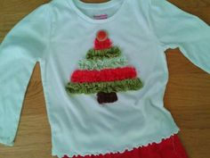 001 Christmas tree ruffle shirt