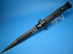 """The Black Tactical......Our Most Popular . Sweet Frank Beltrame Blacked Out Tactical Switchblade 9"""" Bayonet Blade From the Switch Series...These really """"crack"""" when fired..... Very Impressive  More Suited for light duty or collections. A Great Knife to start your Real Italian collection with  for new collectors.... priced to move A Crowd favorite...Don`t miss out !"""