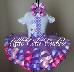Your little one is sure to look like a princess in this adorable Sofia the First Inspired Birthday outfit. The ribbon trim tutu is handcrafted with
