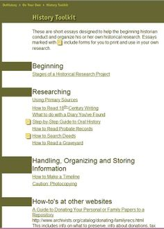 DoHistory.com History Toolkit - Tools for organizing & conducting a historical research project. http://dohistory.org/on_your_own/toolkit/index.html