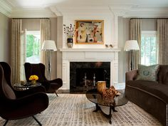 Greenwich Estate Living Room  Living  MidCenturyModern  Contemporary  Eclectic  TraditionalNeoclassical  American by David Scott Interiors, LTD