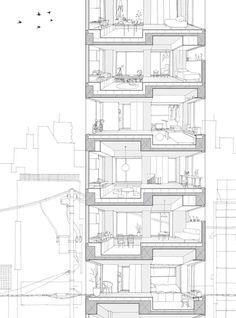 A residential tower by Hiroyuki Ito Architects Hiroyuki Ito Architects, Tatsumi Apartments, perspective section Architecture Drawings, Facade Architecture, Residential Architecture, House Tokyo, Building Section, Architectural Section, Perspective, Grey Bar, Copic Markers