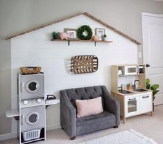 "Faux shiplap and wood roof, p… Darling farmhouse ""fixer upper"" inspired playroom. Faux shiplap and wood roof, perfect for small spaces. Small Playroom, Playroom Design, Playroom Decor, Playroom Ideas, Small Kids Playrooms, Playroom Colors, Playroom Storage, Kid Spaces, Small Spaces"