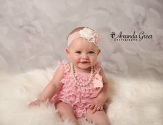 6 Month Photo Session  Classy Baby in Pearls