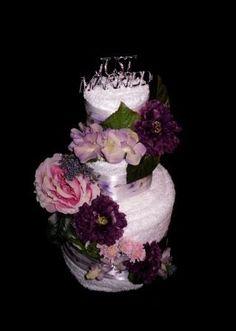 Purple Just Married Towel Cake(3) | Flickr: Intercambio de fotos