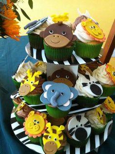 Safari Animal fondant cupcake or cake toppers - http://babyshower-cupcake.com/safari-animal-fondant-cupcake-or-cake-toppers/
