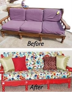 Couch redo not fan of the fabric but great step by step instructions :)