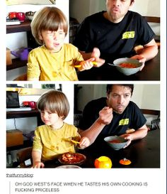 I love how supportive misha is like he actually eats whatever he cooks even if it's a little lol
