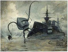 Martians vs. Thunder Child - Illustration by Henrique Alvim Corrêa for the 1906 Belgian edition of War of the Worlds (2)