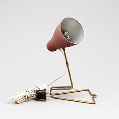 Böhlmarks Lampfabrik; table lamp, brass, laquered metal, Sweden, c1950