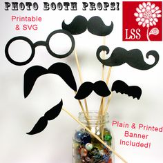 Do you want your next party to be an instant hit? Make some of these cute photo props! You can use the SVG files to die cut the glasses and mustaches or simple print the included PDF files! You also get a photo triangle banner to print as well as a sheet of plain banner triangles. Simply glue the mustaches to a skewer and get the party started!