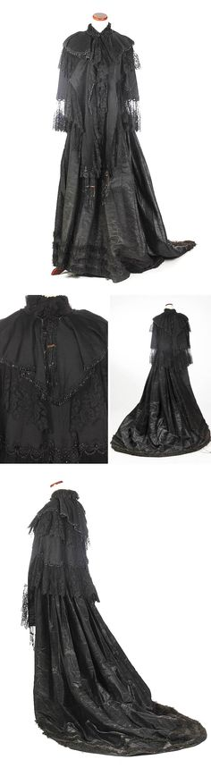 Cobalt blue (?) velvet and silk bustle skirt and jacket, ca. 1870. Comprising taffeta & lace soft bustle skirt and crepe & satin cape trimmed with lace & jet beads. Sloans & Kenyon/Invaluable Auctions