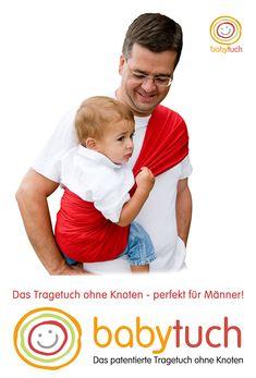 Das perfekte Tragetuch für Männer: kein Wickeln, kein Binden, kein Knoten - einfach Reinschlüpfen und Kind reinsetzen - fertig! So einfach kann Tragen sein! www.babytuch.com Face, Knot, Simple, Faces, Facial