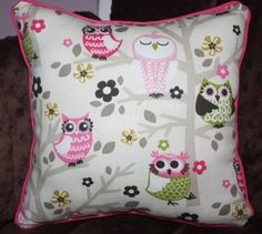 Owls in trees decorative children's pillow