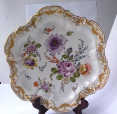 C19Th Dresden Hand Painted Floral Desert Plate With A Gilded Border FOR SALE • £5.00 • See Photos! Money Back Guarantee. C19TH DRESDEN HAND PAINTED DESERT PLATE DECORATED WITH FLOWERS WITHIN A RAISED GILDED BORDER. THERE IS ONE RIM CHIP, AS SHOWN IN THE PHOTOGRAPH. THE MAKERS MARK FOR AN ITEM 311667187483
