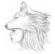33 ideas for tattoo wolf girl drawing wolves Easy Pencil Drawings, Cool Drawings, Cool Sketches, Drawing Sketches, Drawing Art, Learn Drawing, Wolf Drawing Easy, Wolf Sketch Easy, Woman Drawing