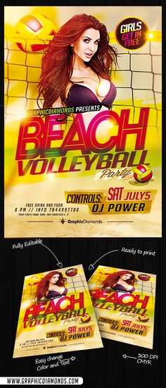 Beach Volleyball PSD Flyer Template its a template made exclusively to promote volleyball games; no matter where the game is being held on, with this template you will secure a great event with the beach as your background.