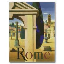 Vintage Rom-Reise Postkarten für die Tischkarten!