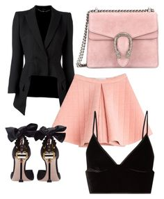 """Glamour Black & Pink"" by mode-elo on Polyvore featuring mode, Alexander McQueen, Marina Hoermanseder, Miu Miu, T By Alexander Wang et Gucci"