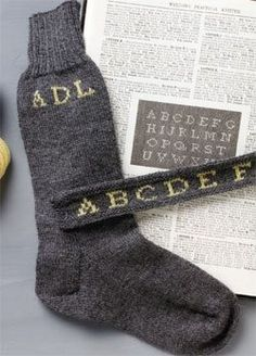 Knitting Daily :  Gentlemen's Monogrammed Socks - pic only...but if you can knit socks, you can handle the monogram...very cool idea!