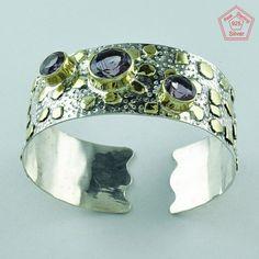 Attractive Design 925 Sterling Silver Amethyst Stone Bangle Jewelry P3341…
