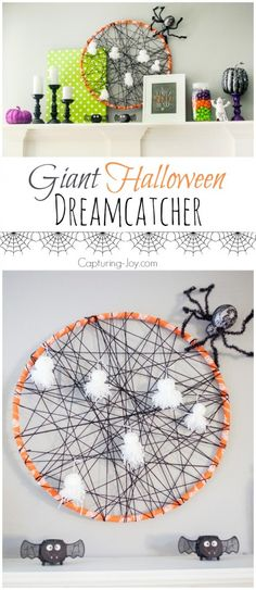 Decorating the home for Halloween with giant dreamcatcher, free printables, porch decor, Halloween family pictures, Halloween kids books, and other fun details.