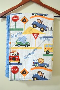 Blue Dot Minky with Animals driving Vehicles 29x30 by SewGreatful, $24.00