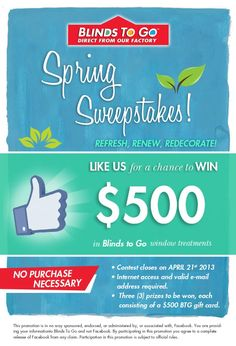 Enter to Win $500 Blinds To Go Gift Card! (3 Winners)