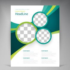 Vector abstract template design flyer, cover with turquoise and green multicayer stripes Vecteur gratuit Flyer Design, Flugblatt Design, Design Brochure, Brochure Cover, Page Design, Banner Design, Graphic Design, Leaflet Template, Free Flyer Templates