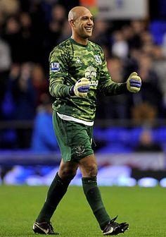 Tim Howard - Everton Goalkeeper.  Fine representation of America in the BPL.