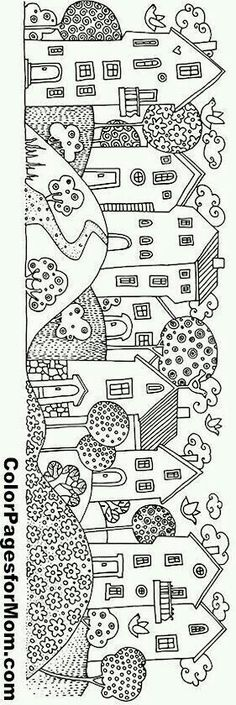 houses in a row Make your world more colorful with free printable coloring pages from italks. Our free coloring pages for adults and kids. House Colouring Pages, Coloring Book Pages, Coloring Sheets, Kids Coloring, Free Coloring, Embroidery Patterns, Hand Embroidery, House Quilts, Printable Coloring