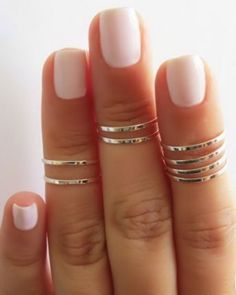 8 Above the Knuckle Rings - Silver stacking ring, Knuckle Ring, Thin silver shiny bands, Midi rings Nail Art Sexy, Sexy Nails, Cute Nail Art, Cute Nails, Pretty Nails, Diy Schmuck, Schmuck Design, Short Nails 2014, White Short Nails