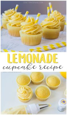 Summer Cupcakes, Yellow Cupcakes, Lemon Cupcakes, Pink Lemonade Cupcakes, Cupcakes Amor, Cupcake Cakes, Cool Cupcakes, Muffin Cupcake, Birthday Cupcakes