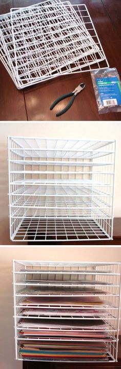 'Scrapbook paper storage solutions...!' (via Cat's Creations) ||| Personally, I think I'd use this as a drying rack for painted/inked projects. Or even for letting glue or air-dry clay set.
