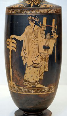 Terracotta lekythos (oil flask) Attributed to the Nikon Painterca. Ancient Music, Ancient Greek Art, Ancient Greece, Greek History, Ancient History, Greek God Of Light, Motif Music, Greek Artifacts, Greek Paintings