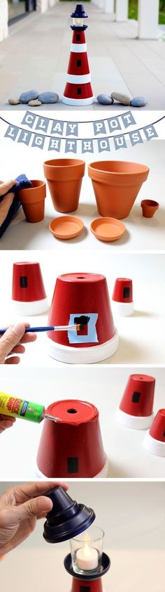 Turn some clay pots into an adorable lighthouse.