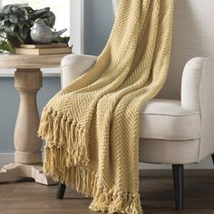 Three Posts Nader Tweed Knitted Throw Blanket Color: Jojoba Yellow, Size: x Behr, Joss And Main, Decor Pillows, Decorative Pillows, Tweed, Blanket Ladder, Ruffle Bedding, Banquette, Upholstered Bench