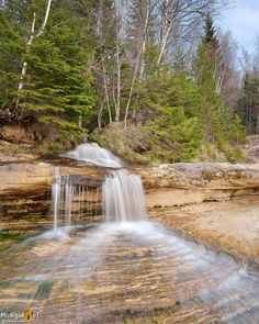 Springtime at Elliot Falls, Pictured Rocks National Lakeshore Cool Pictures Of Nature, Nature Photos, Beautiful Pictures, Beautiful Waterfalls, Beautiful Landscapes, Michigan Waterfalls, Pictured Rocks National Lakeshore, Waterfall Photo, Picture Rocks
