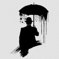 Человек под зонтом в стиле треш полька