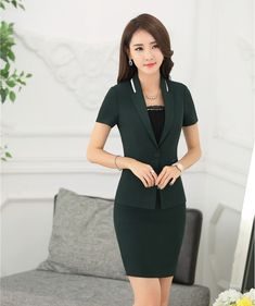 cfcea46d6151 suit set Picture - More Detailed Picture about Summer Fashion Green Blazer  Women Business Suits with Skirt and Jacket Sets Formal Ladies Office Uniform  ...