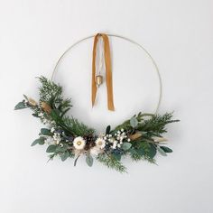 Minimalist Winter Hoop Wreath with Vintage Bell, Modern Christmas Wreath, Modern Holiday Wreath, Dried flower wreath - - Dried Flower Wreaths, Wreaths And Garlands, Greenery Wreath, Holiday Wreaths, Dried Flowers, Christmas Decorations, Winter Wreaths, Minimalist Christmas, Modern Christmas
