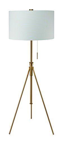 "Midcentury Modern Ore International 31171F-SG Mid-Century 58"" to 72"" H Adjustable Tripod Gold Floor Lamp, Matte Gold"