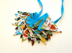 Owl Flag Bunting Banner / 16 MIni Fabric Flags / by SSKDesigns, $42.00