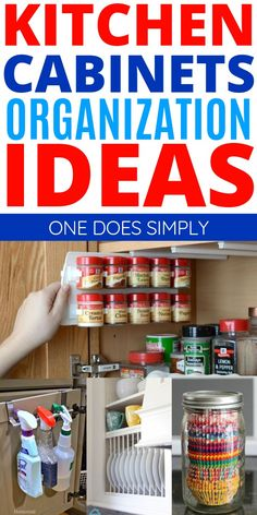 These kitchen cabinets organization tips and tricks are SO CLEVER! Try these awesome organization tips and make your kitchen look GREAT! Tidy Kitchen, Kitchen Organization Pantry, Linen Closet Organization, Organization Station, Diy Kitchen Storage, Household Organization, Home Organization Hacks, Storage Hacks, Organizing Ideas
