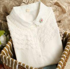 Barato 2014 Mori menina verão gola boneca doce laço de manga comprida blusa branca moda Casual camisa de algodão todo jogo, Compro Qualidade Blusas diretamente de fornecedores da China:                  &