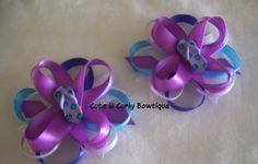Flip Flop Hair bow Girls Blue Purple by CuteNCurlyBowtique on Etsy, $9.50