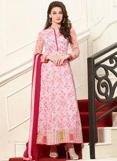 Pink Floral Printed Ankle Length Anarkali Suit