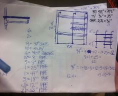 We figured out exactly how many pieces of plumbing pipe we needed for our shelving unit
