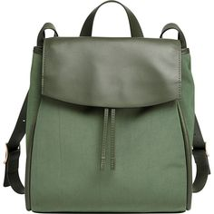 Skagen Ebba Nylon and Leather Backpack - Agave - Backpack Handbags (586.325 COP) ❤ liked on Polyvore featuring bags, backpacks, backpack, accessories, purses, bolsas, green, drawstring bag, day pack backpack and drawstring backpacks
