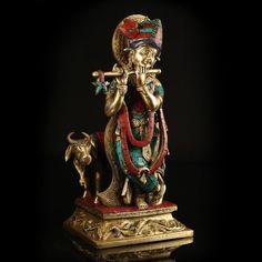 Brass & Mosaic Krishna with Cow!  http://www.indiancraftsmen.com/home-decor/brass-amp-mosaic/brass-and-mosaic-krishna